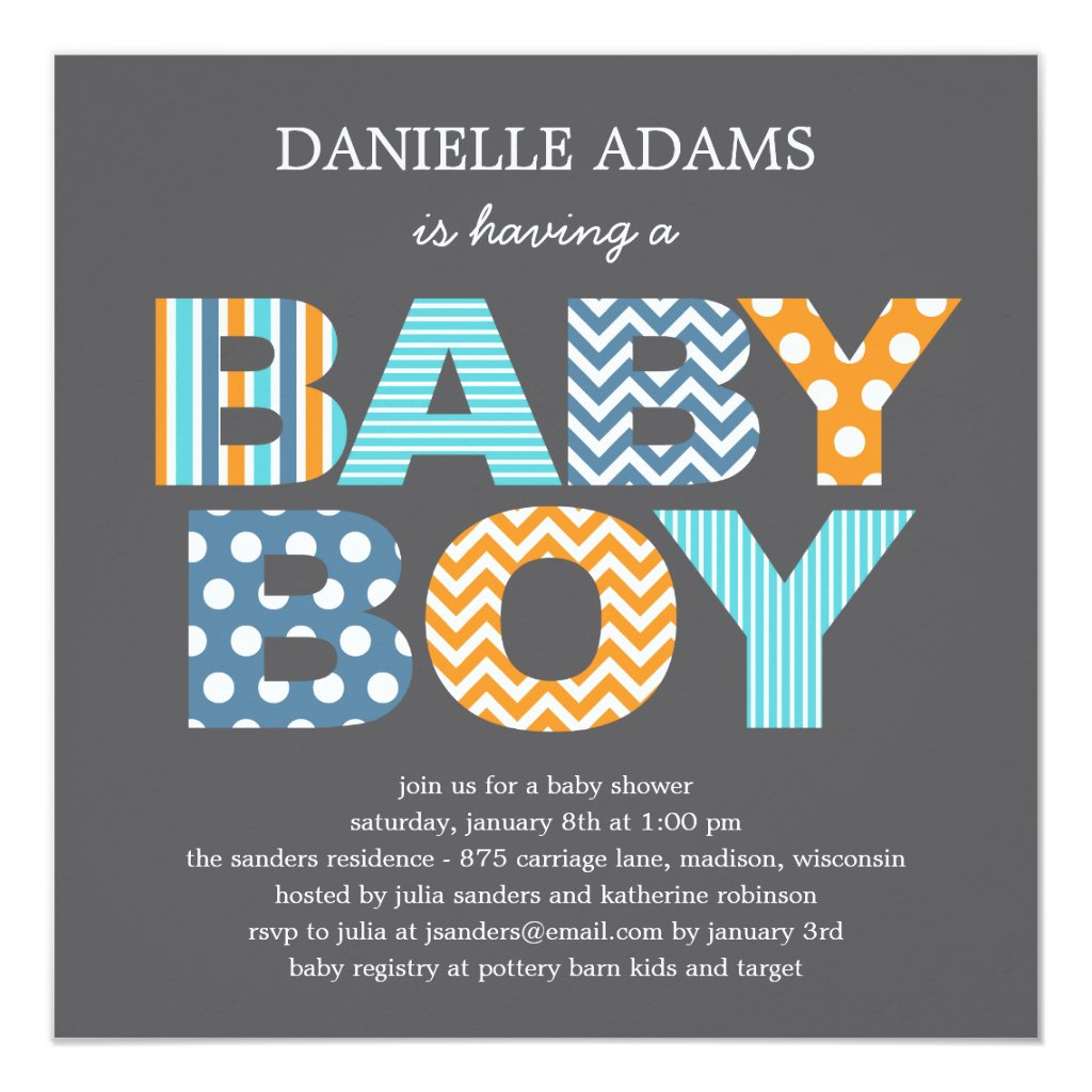 Cutout Letters Baby Shower Invitation - Boy