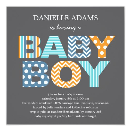 cutout letters baby shower invitation boy
