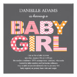 Cutout Letters Baby Shower Invitation - Girl Personalized Invitation