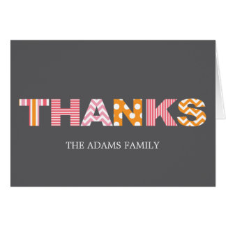 Cutout Letters Baby Thank You Card - Pink