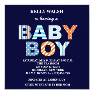 Cutout Letters Boy Baby Shower Invitation