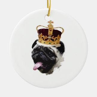 Cutout Pug in a Crown Ceramic Ornament