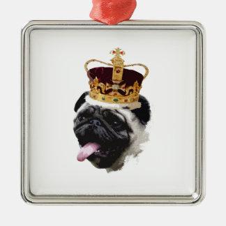 Cutout Pug in a Crown Metal Ornament
