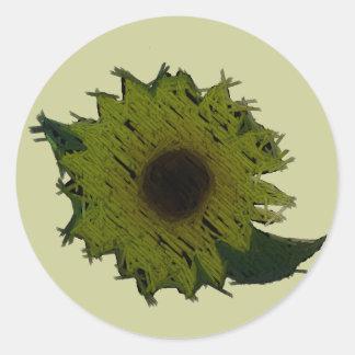 "Cutout ""Straw"" Sunflower Classic Round Sticker"