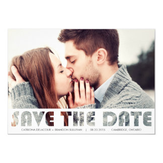 CUTOUT TYPOGRAPHY SAVE THE DATE ANNOUNCEMENT