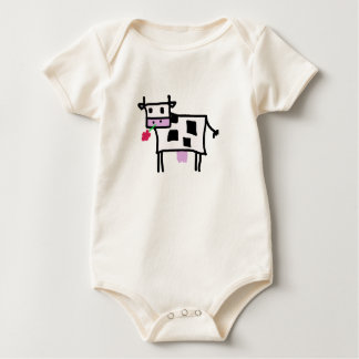 cutsie square cow baby bodysuit