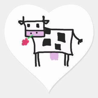 Cutsie Square Cow Heart Sticker