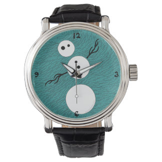 Cutsomizable Whimsical Winter Snowman Time Piece Wristwatches