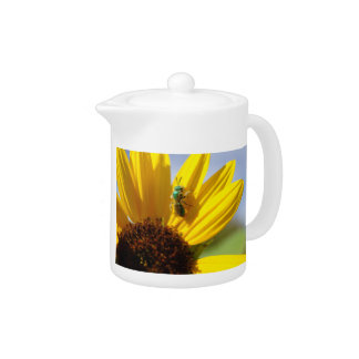 Cutter Bee on a Sunflower Teapot
