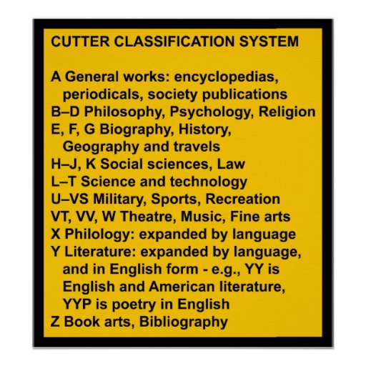 Cutter Expansive Classification System Print