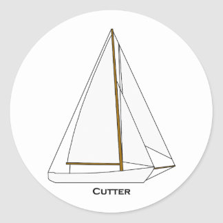 Cutter Sailboat Illustration Classic Round Sticker