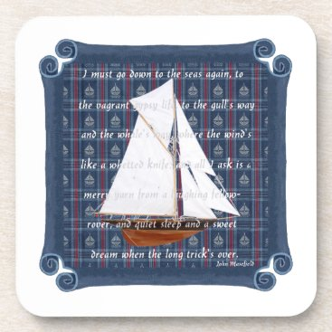 Beach Themed Cutter with Verse - Down to the Seas Coaster