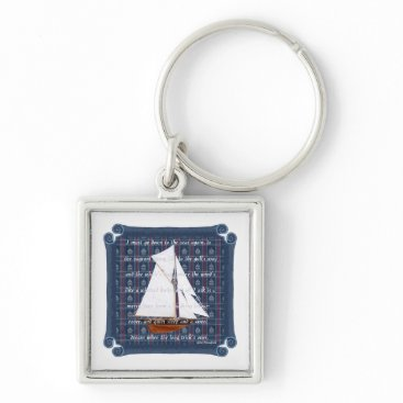 Beach Themed Cutter with Verse - Down to the Seas Keychain