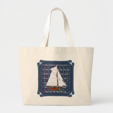 Beach Themed Cutter with Verse - Down to the Seas Large Tote Bag