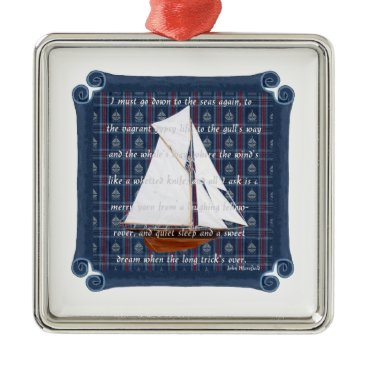 Beach Themed Cutter with Verse - Down to the Seas Metal Ornament