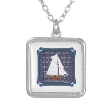 Beach Themed Cutter with Verse - Down to the Seas Silver Plated Necklace