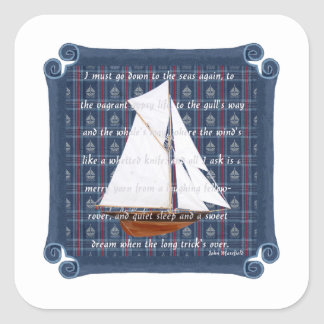 Cutter with Verse - Down to the Seas Square Sticker