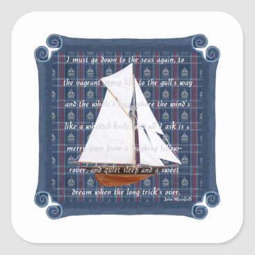 Beach Themed Cutter with Verse - Down to the Seas Square Sticker