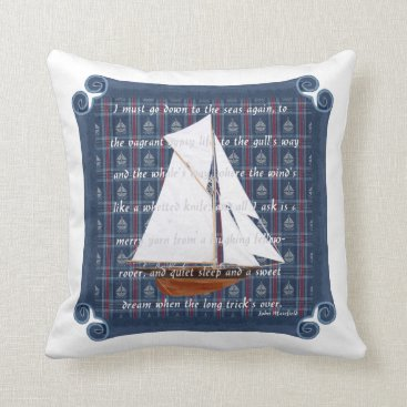 Beach Themed Cutter with Verse - Down to the Seas Throw Pillow