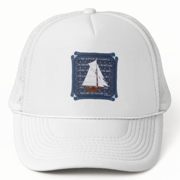 Beach Themed Cutter with Verse - Down to the Seas Trucker Hat