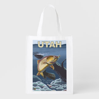 Cutthroat Trout FishingUtah Reusable Grocery Bags