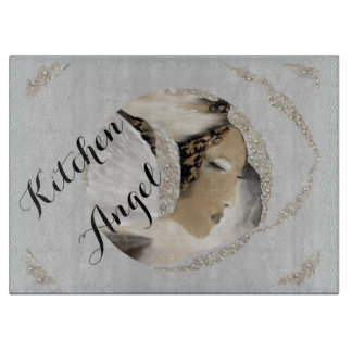 Cutting Board - Kitchen Angel on Silver/Grey/White