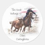 Cutting horse bookplate sticker