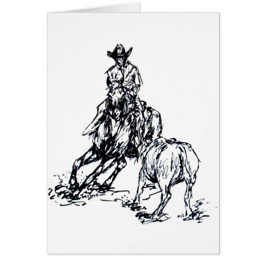 Cutting Horse Western Sketch Design Card