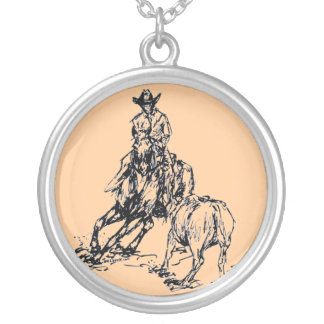 Cutting Horse Western Sketch Design Round Pendant Necklace