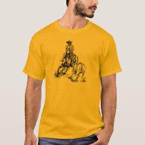 Cutting Horse Western Sketch Design T-Shirt
