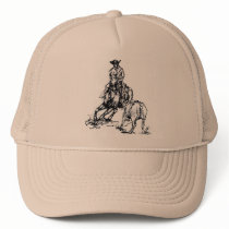 Cutting Horse Western Sketch Design Trucker Hat
