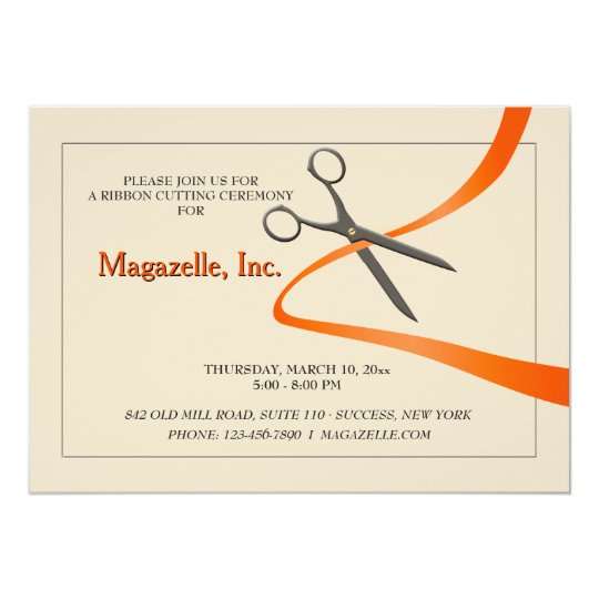Opening ceremony invitations announcements zazzle cutting of the ribbon grand opening announcement stopboris Image collections
