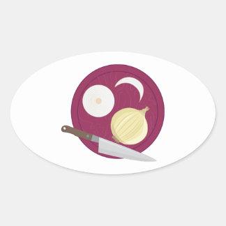 Cutting Onions Oval Sticker