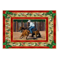 Cutting Quarter Horse Blank Christmas Card