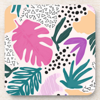 Cutting Shapes Tropical Pattern Coaster Set