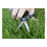 Cutting the grass with a pair of scissors greeting card