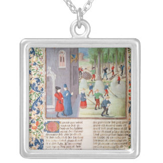 Cutting Trees and Harvesting Square Pendant Necklace