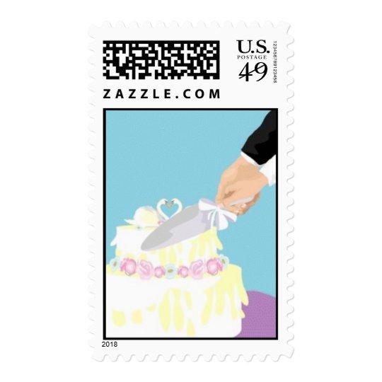 Cutting Wedding Cake Postage Stamp