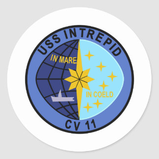 CV-11 USS INTREPID Multi-Purpose Aircraft Carrier Classic Round Sticker