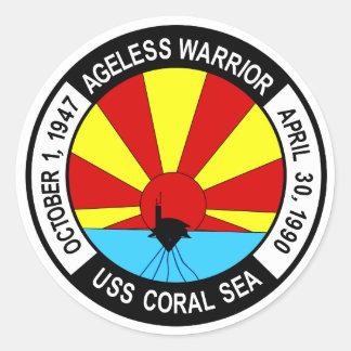 CV-43 USS CORAL SEA Multi-Purpose Aircraft Carrier Classic Round Sticker
