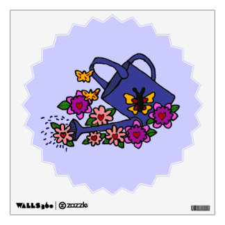 CV- Floral Art Watering Can Wall Decal