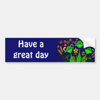 CV- Funny Frog Folk Art Design Bumper Sticker