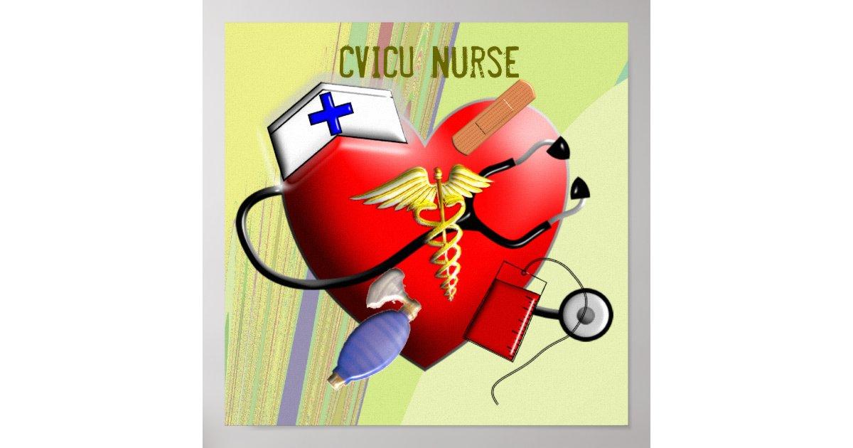 cvicu nurse canvas art poster zazzle com