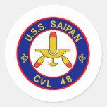 CVL-48 A USS SAIPAN Multi-Purpose Light Aircraft C Round Stickers