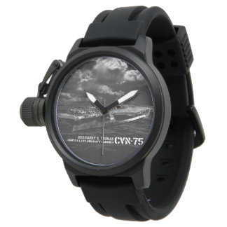 CVN-75 Harry S. Truman Crown Protector Black Rubb Wrist Watch