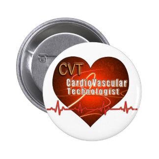 CVT HEART LOGO Cardiovascular Technologist Pins