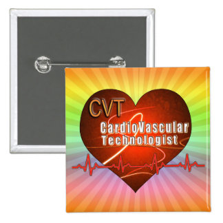 CVT HEART LOGO Cardiovascular Technologist 2 Inch Square Button