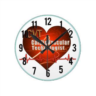 CVT HEART LOGO Cardiovascular Technologist Round Wall Clocks