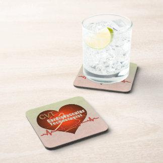 CVT HEART LOGO Cardiovascular Technologist Beverage Coaster