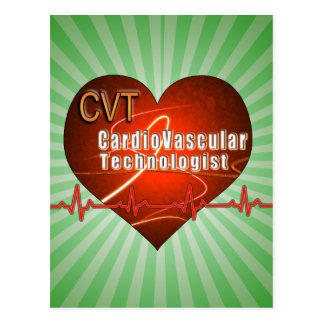 CVT HEART LOGO Cardiovascular Technologist Postcard
